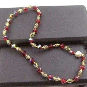 Glass Bead Necklace ruby red and aurora borealis